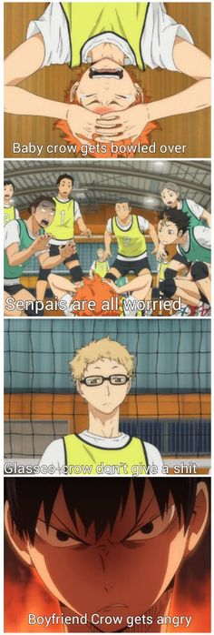 "Kageyama be like ""Tsukki you oversized lamp post piece of shit CARE FOR MY BOYFRIEND ACKNOWLEDGE HIS MISERY"""
