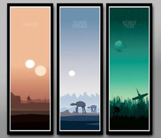 Star Wars Inspired Minimalist Movie Poster Set - Sunset Collection//Long Series - 12 x 36 Inches - Print 333 - Home Decor
