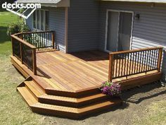Love how the steps are done! Simple Deck Ideas, Deck Ideas With Hot Tub, Back Deck Ideas, Cheap Deck Ideas, Small Deck Ideas On A Budget, Deck With Stairs, Porch Stairs, Pergola Garden, Balcony Garden