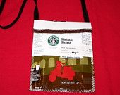 Shoulder/hip bag made with recycled Starbucks bags