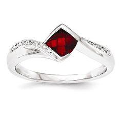 14K White Gold Diamond & Garnet Ring