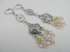 Chandelier Silvertone Charm Leverback Earrings with Pink Crystal Drops - 3 inch length