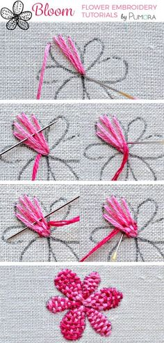 woven petal flower - flower embroidery tutorial