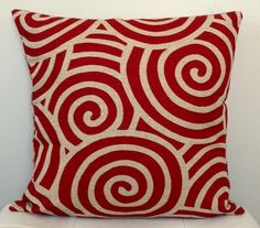 REVERSIBLE Decorative pillow cover red geometric by TwigandIris $28