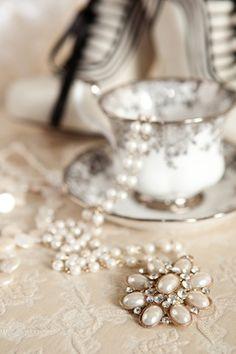 Pearls & Diamonds in a Silver rimmed Tea Cup ♥cc