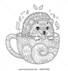 Hedgehog in cup. Adult antistress coloring page with animal in zentangle style. Vector illustration for T-shirt print, tattoo, logo. Line art. Zendoodle.
