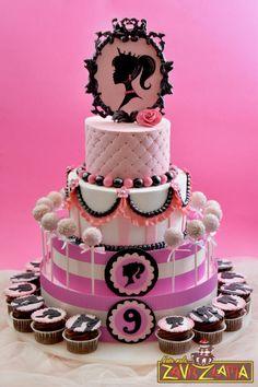 Barbie Silhouette Cake - Cake by Nasa Mala Zavrzlama Bolo Barbie, Barbie Cake, Barbie Theme, Buttercream Cake, Fondant Cakes, Cupcake Cakes, Barbie Birthday Party, Birthday Cake Girls, Birthday Wishes