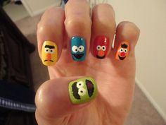 Funny nail art design ideas with cute 5 desserts cartoon character my little sis creative nail art prinsesfo Images