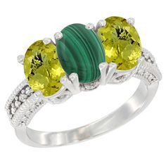 14K White Gold Natural Malachite Ring with Lemon Quartz 3-Stone 7x5 mm Oval Diamond Accent, size 7, Women's