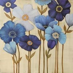 """"""" By Manuela Jarry """" Flower Painting Canvas, Painting & Drawing, Creative Pictures, Blue Art, Mural Art, Gravure, Acrylic Art, Flower Art, Watercolor Art"""