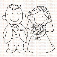 Novio y novia caricatura