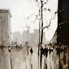 """Geoffrey Johnson, """"Madison Square"""" - oil on panel--at Principle Gallery Figure Painting, Figure Drawing, Cityscape Art, Silhouette Art, Urban Sketching, Texture Painting, Painting Inspiration, Art Projects, Contemporary Art"""