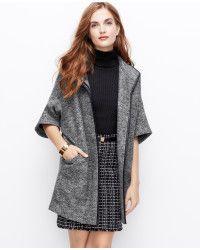 Ann Taylor Faux Leather Trim Boiled Wool Coat - Lyst