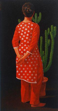 Woman Oil on Canvas by Ali Abbas Pakistani Artist. Size: 12 x 24 Woman Painting, Figure Painting, Painting Art, Paintings, Oil On Canvas, Art Gallery, Artist Art, Figurative, Pakistani