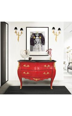 [New] The 10 Best Home Decor (with Pictures) - [Fr] Commode baroque de style Louis XV avec placage rouge cérusé. [En] Louis XV style baroque dresser with red wood veneer and gold patina. Gold Painted Furniture, Baroque Furniture, Painted Sideboard, Luxury Furniture, Home Furniture, Decoration Baroque, Black Drawers, Altar, Style Louis Xv