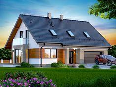 Wizualizacja DN DARLENA Z WYKUSZEM (garaż dwustanowiskowym) CE Home Garden Design, Home And Garden, House Design, Steel Framing, House Outside Design, Micro House, Scandinavian Home, Design Case, House In The Woods