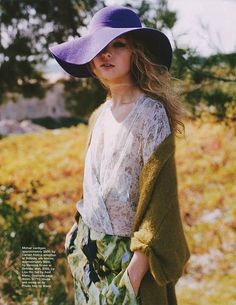that purple floppy hat is great mixed in with white lace and a fuzzy pea green coat