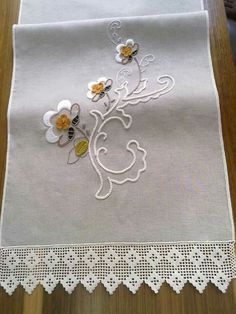 Discover thousands of images about Light gray linen table runner decorated with stylized, handmade, flowering tree branch motifs in crochet and natural linen yarn tassels . Embroidery Sampler, Embroidery Stitches, Embroidery Patterns, Hand Embroidery, Crochet Borders, Filet Crochet, Diy And Crafts, Arts And Crafts, Crochet Dollies