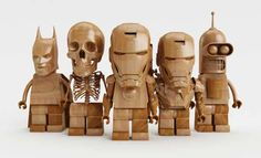 These Wooden LEGO pop culture characters are a series by Italian artist Claudio Bellosta.
