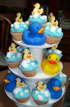 Blue & Yellow Ducky cupcake display to match cake