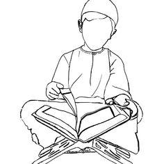 Coloriage d'un garçon lisant le Coran disponible sur le site oummi colors #muslimkids#muslimcrafts