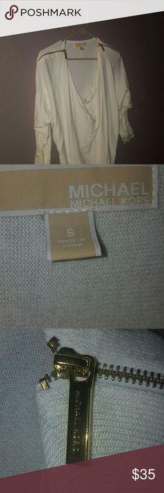 Michael Kors Ivory Scoopneck Sweater Gold zipper accents. Clean. No snags. Michael Kors Sweaters Crew & Scoop Necks