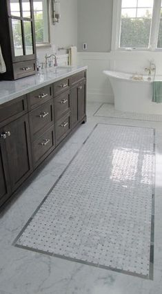 Marble Bathroom Tile marble basketweave floor white subway tile bathroom | bathroom