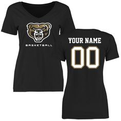 Oakland Golden Grizzlies Women's Personalized Basketball Slim Fit T-Shirt - Black - $37.99