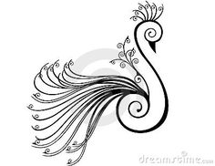 Peacock stylised in swirls by Rsinha, via Dreamstime