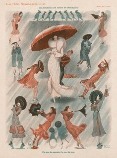 Armand Vallee 1930 Fashion Illustration, Umbrella, Groom, Comic Strip
