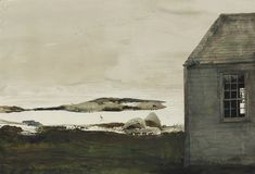 Andrew Wyeth (1917 — 2009, USA) Sea level. 1982 watercolor on paper. 28 3/4 x 42 in. (73 x 106.7 cm.)