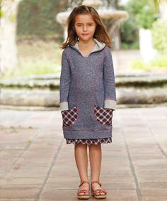 Look what I found on #zulily! Navy Plaid Pocket Hoodie Dress - Toddler & Girls by Freckles + Kitty #zulilyfinds