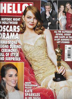 Hello magazine Oscars Emma Stone Kate Middleton Princess Diana Marisa Tomei