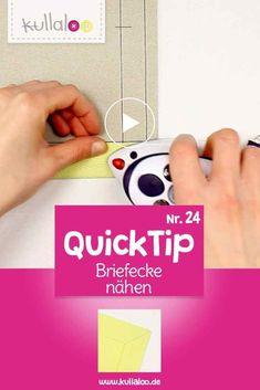 Quick Tip Video: Briefecke nähen | kullaloo - #tischdeckenähen - Wie verarbeitet man eigentlich eine Ecke an einem einlagigen Stoffstück, zum Beispiel an einer Tischdecke, einem Vorhang oder einem Rockschlitz? Die Briefecke ist eine schöne, einfache Art, eine saubere Ecke zu erhalten. In diesem Quick Tip zeigen wir, wie eine rechtwinklige Briefecke genäht wird....