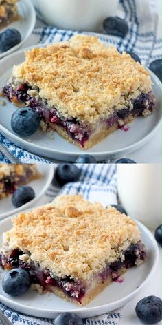 This easy and delicious recipe uses pantry staples to create family-favorite Blueberry Crumble Bars that are the perfect way to use up those summer berries! Frozen Blueberry Recipes, Blueberry Desserts, Blueberry Cake, Blueberry Cobbler Recipes, Summer Dessert Recipes, Easy Desserts, Health Desserts, Blueberry Crumble Bars, Crumble Recipe