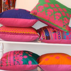 Hand-embroidered Indian pillows, by Filling Spaces. Pink Pillows, Bed Pillows, Colorful Pillows, Indian Pillows, Condo Living, Living Room, Kitchen Dinning, Indian Home Decor, Sweet Life