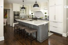 Supreme Kitchen Remodeling Choosing Your New Kitchen Countertops Ideas. Mind Blowing Kitchen Remodeling Choosing Your New Kitchen Countertops Ideas. Grey Kitchen Island, White Kitchen Cabinets, Kitchen Redo, New Kitchen, Gray Cabinets, Kitchen Ideas, Kitchen White, Gray Island, Kitchen Islands