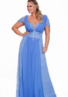 Sexy Chiffon & Lace Floor Length Plus Size Evening Dress / Prom Dresses/ Mother of The Bride Dresses