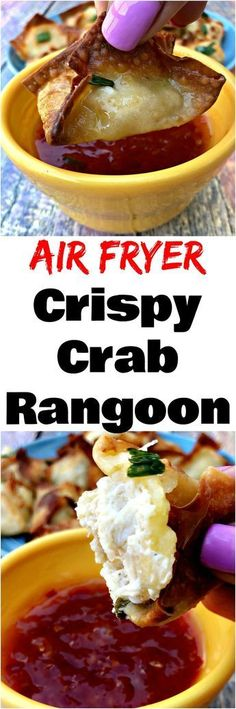 Air Fryer Crispy Crab Rangoon Air Fryer Crispy Crab Rangoon is a quick and easy, healthy air-fried recipe using wonton wrappers, reduced-fat cream cheese, and jumbo lump crab meat. This crab rangoon is crunchy and filled with flavor. Air Frier Recipes, Air Fryer Oven Recipes, Meat Appetizers, Appetizer Recipes, Dinner Recipes, Crab Rangoon Recipe, Cooks Air Fryer, Air Fried Food, Air Frying
