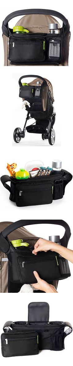 Uigos Best Stroller Organizer for Smart Moms, Fits All Strollers, Premium Deep Cup Holders, Extra-Large Storage Space for Wallets, Diapers, Books, Toys, & The Perfect Baby Shower Gift!