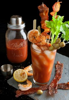 Ultimate Bloody Mary w/ Candied Bacon and Salt/Pepper Shrimp Skewers!