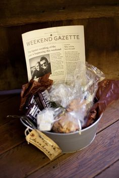 Hotel Hospitality. Cool idea for out of town guests. Can include anything related to the town or what you may need at a hotel.