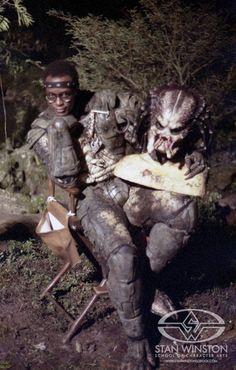 Kevin Peter Hall as the Predator behind the scenes on #Predator (1987).