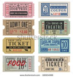 movie ticket Vintage Tickets and Coupons royalty-free vintage tickets and coupons stock vector art amp; more images of admit one Ticket Cinema, Theater Tickets, Movie Tickets, Movie Ticket Template, Carnival Tickets, Etiquette Vintage, Ticket Design, Tumblr Stickers, Journal Stickers