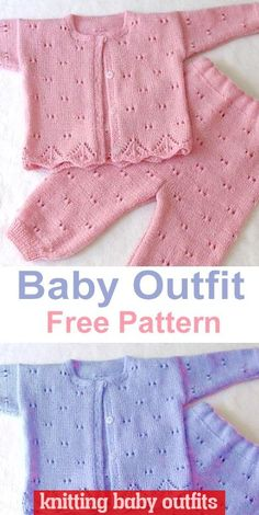 Baby Outfit This knitting pattern / tutorial is available for free. Baby Knitting Patterns Free Newborn, Baby Cardigan Knitting Pattern Free, Baby Boy Knitting Patterns, Knitted Baby Cardigan, Knit Baby Sweaters, Free Knitting, Knitted Baby Outfits, Knit Baby Dress, Knitted Baby Clothes