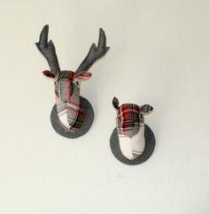 Stag and Doe Head Wall Hangings, Mr & Mrs Porridge. Stag And Doe, Mr Mrs, Wool Blanket, Antlers, Wall Hangings, Vintage, Fleece Blanket Edging, Horns, Deer Heads