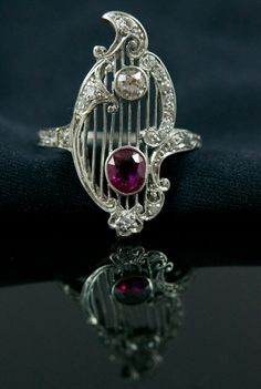 Sublime Edwardian diamants et rubis bague par AletheiasLair sur Etsy