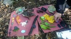Natures Colours - exploring colours through matching coloured fymo stones with natural found objects.