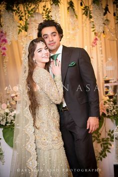 Cute Pakistani bride & groom Bridal And Formal, White Bridal, Desi Wedding, Wedding Bride, Bride Groom, Walima Dress, Pakistan Wedding, Pakistani Wedding Outfits, Engagement Dresses