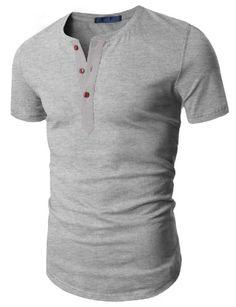Black Friday Doublju Mens Henley T-shirts with Short Sleeve GRAY (US-M) from Doublju Cyber Monday